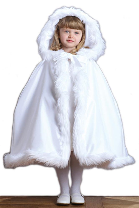 Children's White Hooded Satin Cloak with Faux Fur Trim - Elegant Bridal Designs