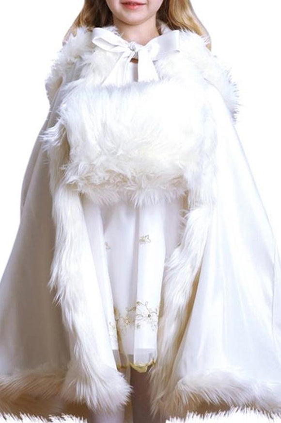 Children's Faux Angora Fur White Hand Muff - Elegant Bridal Designs