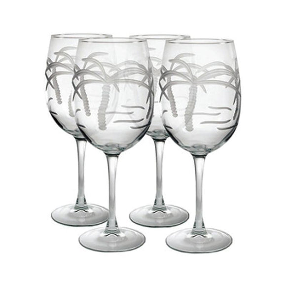Rolf Glass Palm Tree All Purpose 18 oz. Wine Glasses (Set of 4) - Elegant Bridal Designs