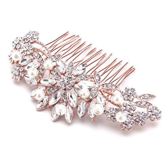 Pearl Crystal & Lucite Sunburst Wedding or Prom Comb - Elegant Bridal Designs