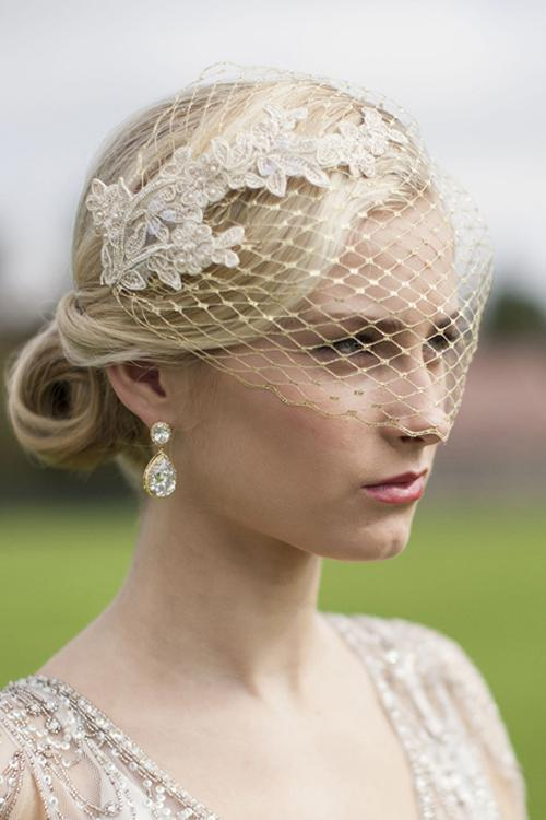 Metallic Gold French Netting Bandeau Bridal Veil with Champagne Lace Appliques - Elegant Bridal Designs