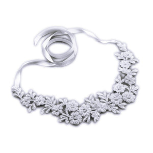 Lace Applique Garden Wedding Headband with Meticulous Edging - Elegant Bridal Designs