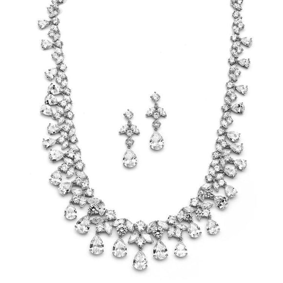 Cubic Zirconia Bridal or Pageant Statement Necklace Set - Elegant Bridal Designs