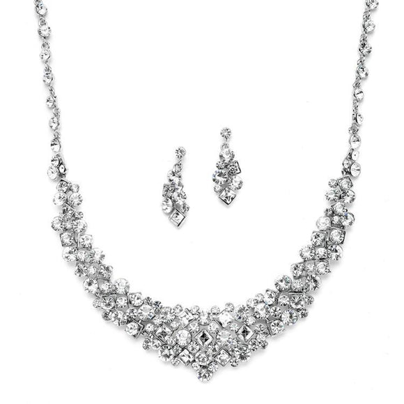 Bridal Statement Necklace Set with Square Crystal Accents - Elegant Bridal Designs