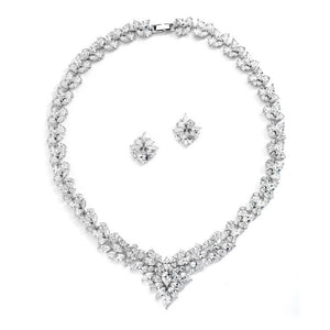 Regal Marquise Cubic Zirconia Statement Necklace Set - Elegant Bridal Designs