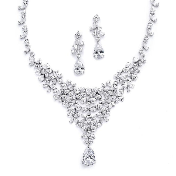 Red Carpet CZ Wedding Statement Necklace Set - Elegant Bridal Designs
