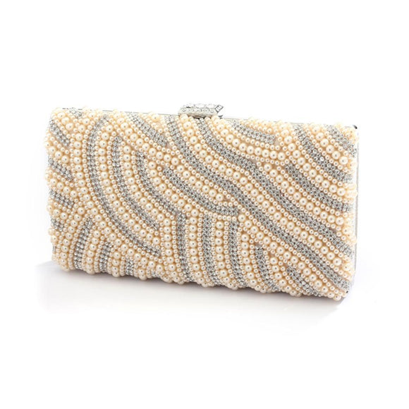 Honey Beige Pearl Bridal Evening Bag with Bezel Crystals - Elegant Bridal Designs