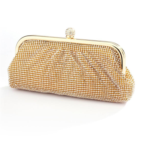 Two-Sided Crystal Clutch Evening Bag with Vintage Gold Frame