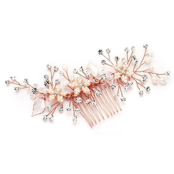 Bridal Hair Comb with Silvery Rose Gold Leaves, Freshwater Pearl and Crystal Sprays - Elegant Bridal Designs