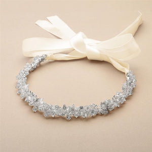 Slender Silver Bridal Headband with Hand-wired Crystal Clusters and Ivory Ribbons - Elegant Bridal Designs