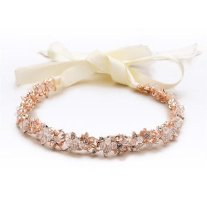 Slender Rose Gold Bridal Headband with Hand-wired Crystal Clusters and Ivory Ribbons - Elegant Bridal Designs