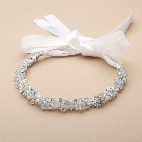 Slender Silver Bridal Headband with Hand-wired Crystal Clusters and White Ribbons - Elegant Bridal Designs