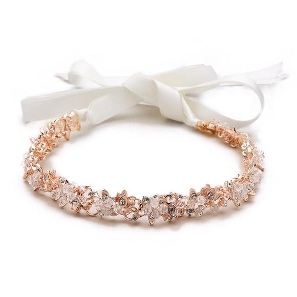 Slender Rose Gold Bridal Headband with Hand-wired Crystal Clusters and White Ribbons - Elegant Bridal Designs