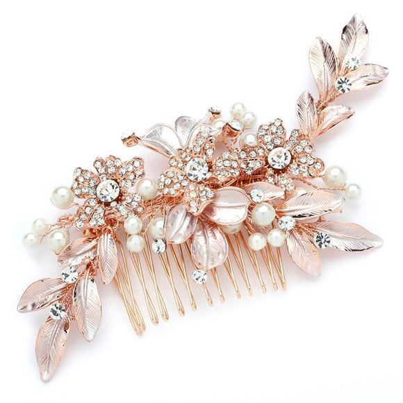 Bridal Hair Comb with Hand Painted Rose Gold Leaves and Pave Crystals - Elegant Bridal Designs