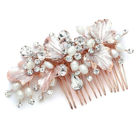 Couture Bridal Hair Comb with Hand Painted Rose Gold Leaves, Pearls and Crystals - Elegant Bridal Designs