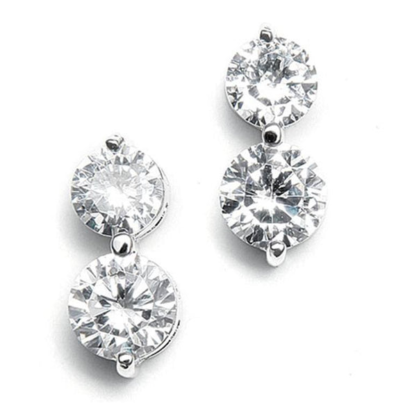 Double Rounds Cubic Zirconia Wedding Earrings - Elegant Bridal Designs