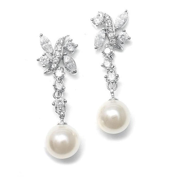 Luxurious Pearl and Cubic Zirconia Bridal Earrings - Elegant Bridal Designs