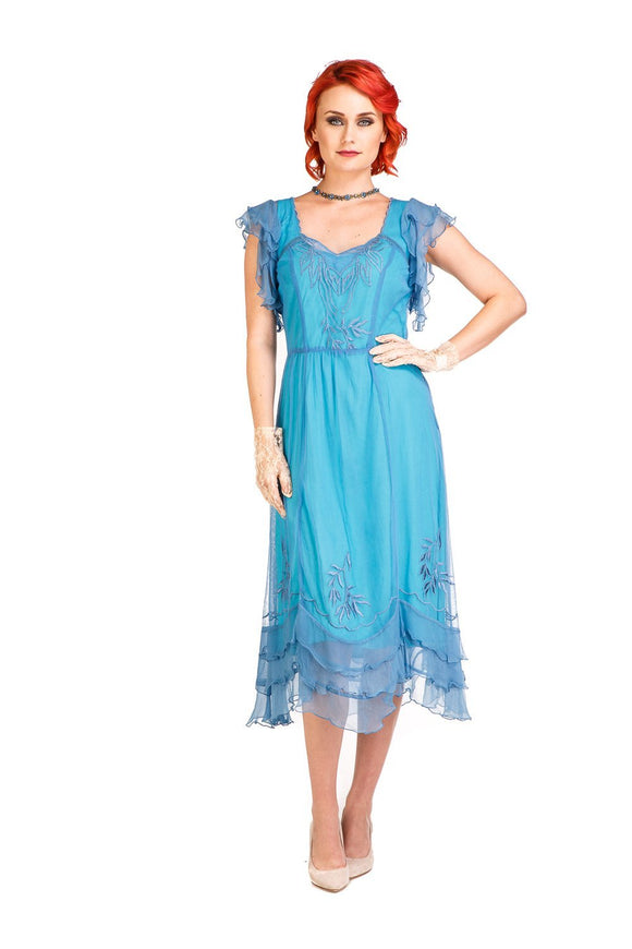 Nataya AL-284 Olivia 1920s Flapper Style Party Dress in Turquoise - Elegant Bridal Designs