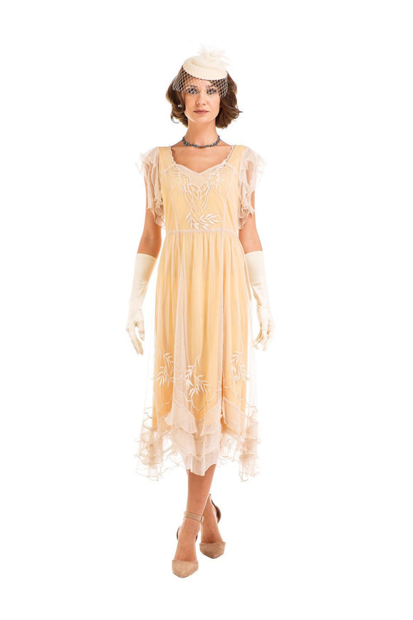Nataya AL-284 Olivia 1920s Flapper Style Party Dress in Lemon - Elegant Bridal Designs