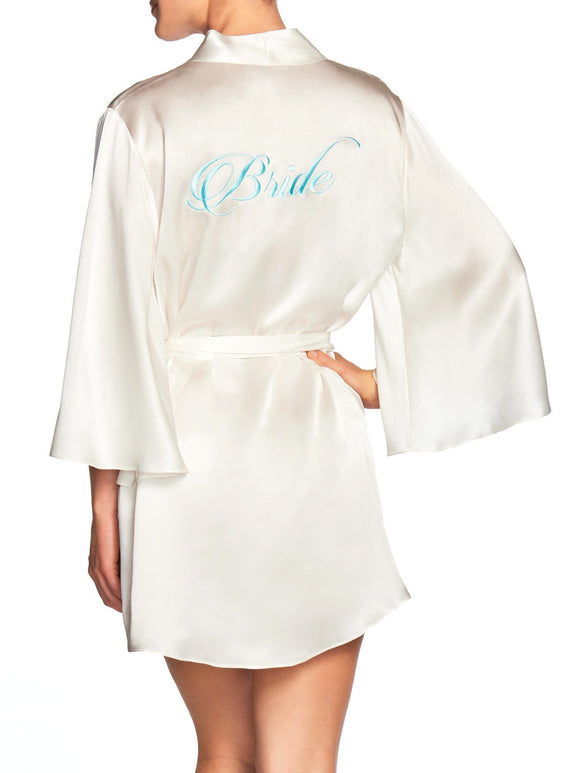 Naked Princess Silk Bridal Robe - Bride in Blue - Elegant Bridal Designs