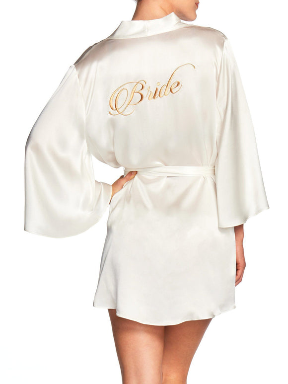 Naked Princess Silk Bridal Robe - Bride in Gold - Elegant Bridal Designs