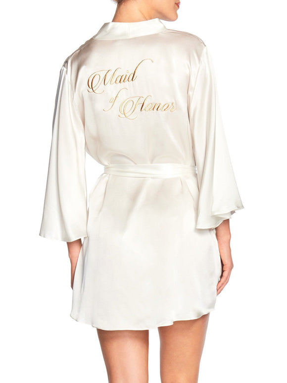 Naked Princess Maid of Honor Silk Robe - Elegant Bridal Designs