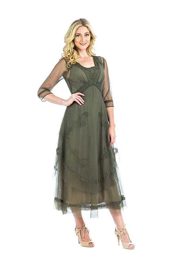 Nataya CL-163 Mary Vintage Style Party Dress in Olive - Elegant Bridal Designs