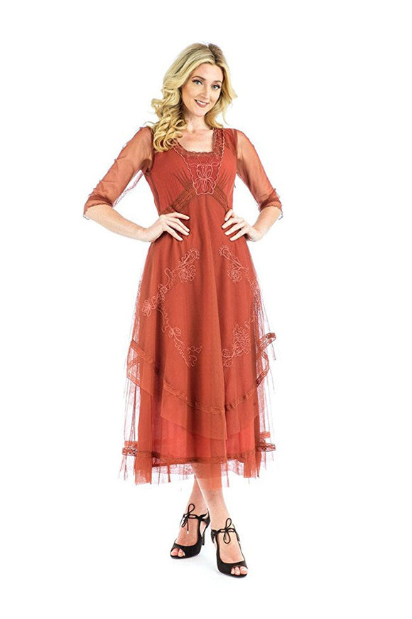 Nataya CL-163 Mary Vintage Style Party Dress in Paprika - Elegant Bridal Designs