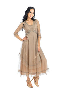 Nataya CL-163 Mary Vintage Style Party Dress in Sand - Elegant Bridal Designs