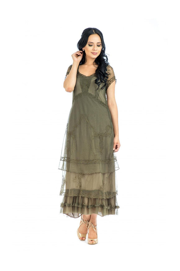Nataya CL-169 Arrianna Vintage Style Party Dress in Olive - Elegant Bridal Designs