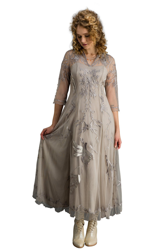 Nataya CL-2149 Elizabeth Vintage Style Wedding Dress in Silver/Grey - Elegant Bridal Designs