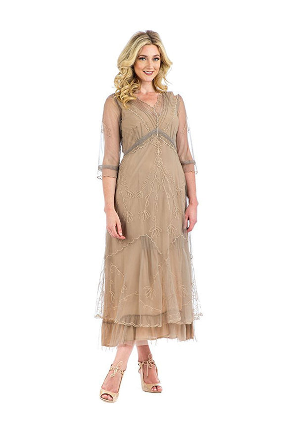 Nataya CL-509 Vintage Style Party Dress in Sand - Elegant Bridal Designs