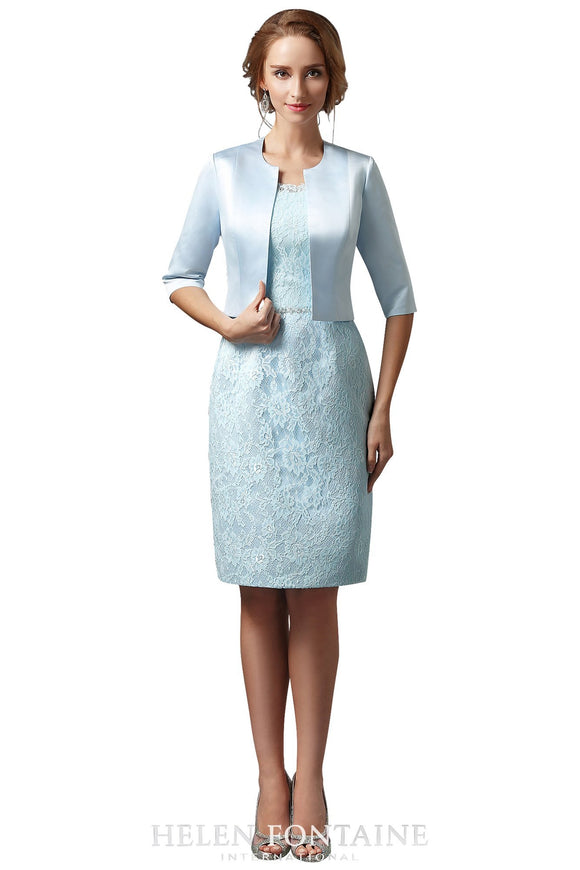 Helen Fontaine Short Sheath Mother of the Bride Dress with Jacket - Elegant Bridal Designs