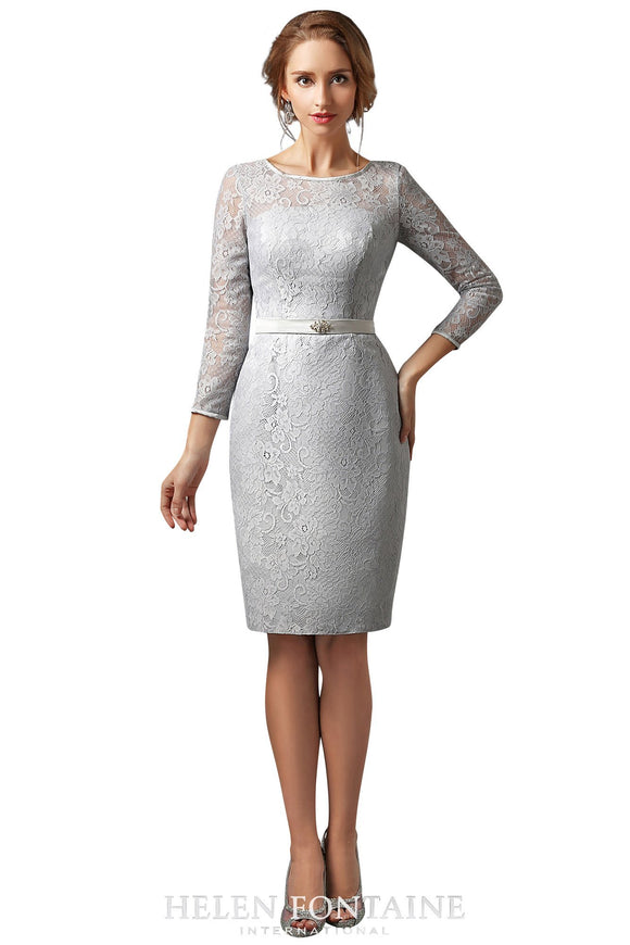 Helen Fontaine Short Sheath Lace Mother of the Bride Dress with 3/4 Sleeves