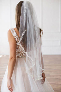 Lydia Embellished Tulle Wedding Veil - Elegant Bridal Designs