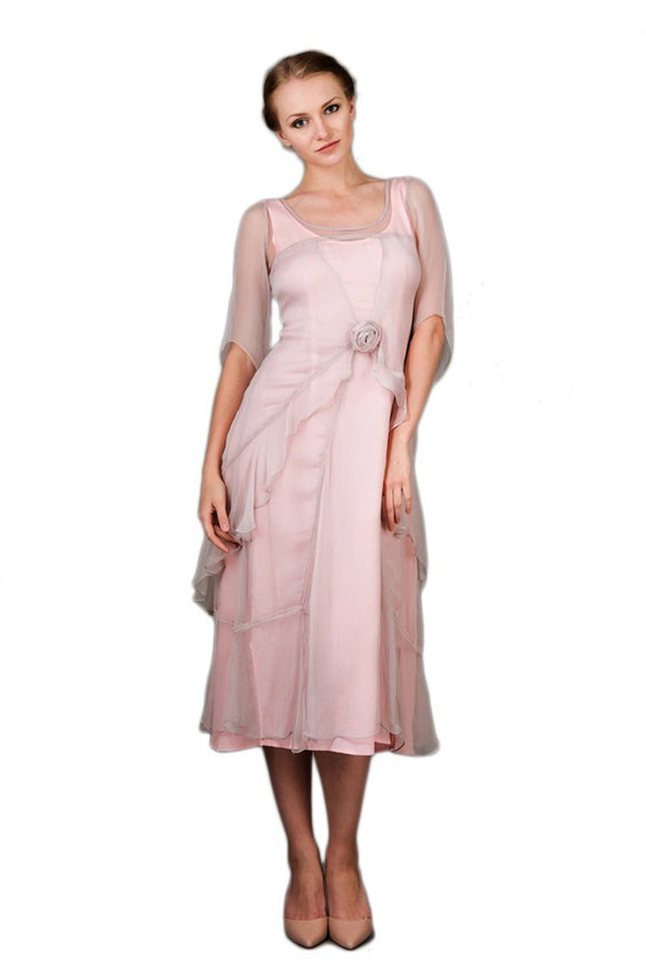 Nataya 10709 Women's 1920s Vintage Style Great Gatsby Dress in Rose - Elegant Bridal Designs