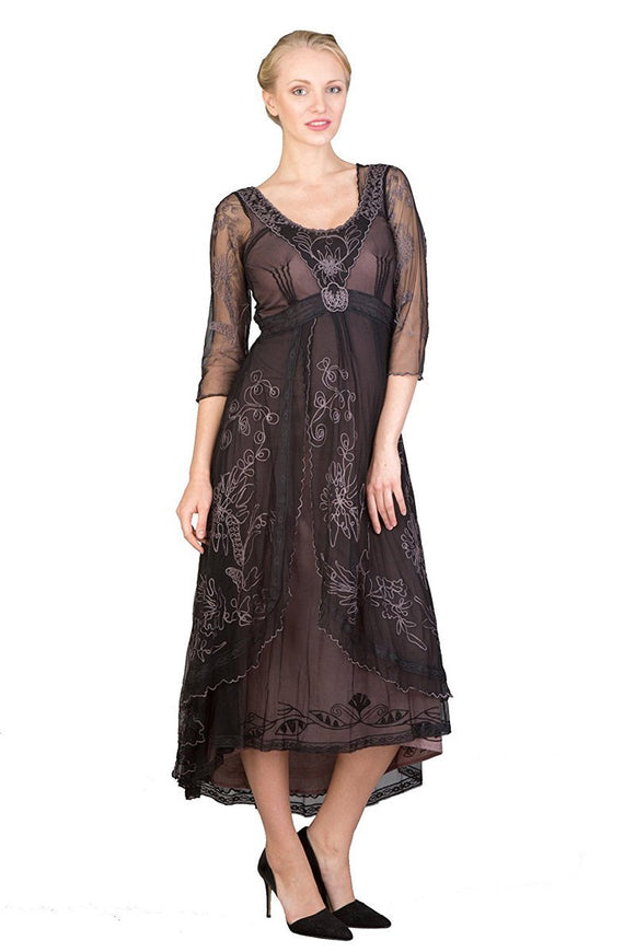 Nataya 40163 Downton Abbey Style Tea Party Dress in Black/Coco - Elegant Bridal Designs