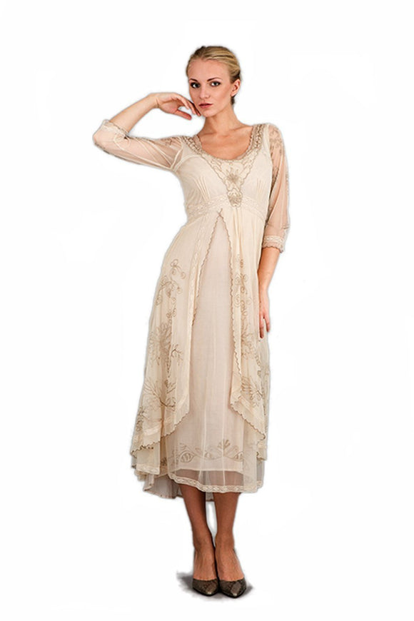 Nataya 40163 Downton Abbey Style Tea Party Dress in Pearl - Elegant Bridal Designs