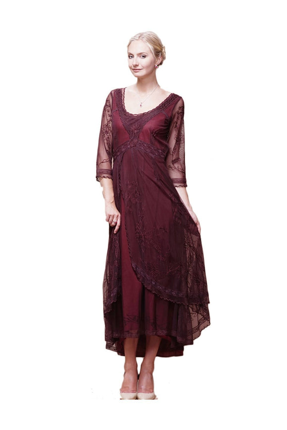Nataya 40163 Downton Abbey Style Tea Party Dress in Ruby/Plum - Elegant Bridal Designs