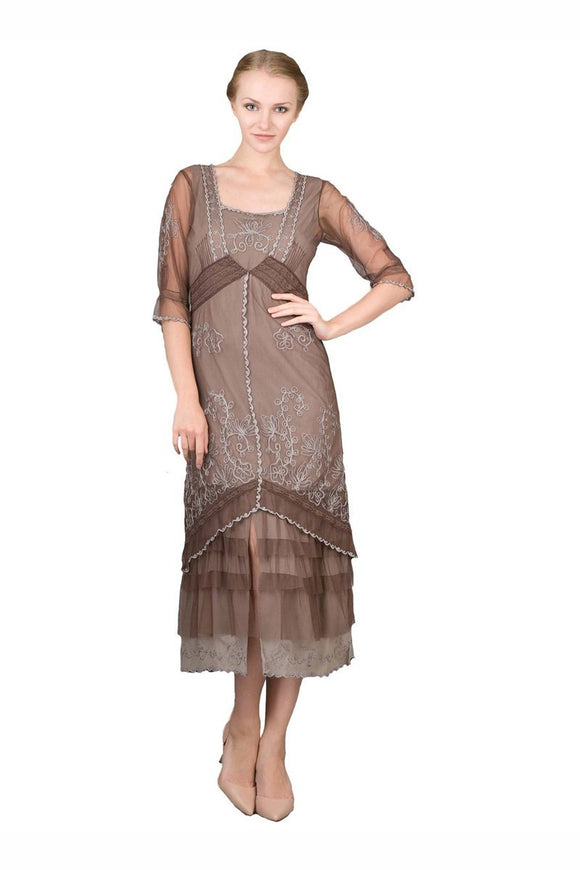 Nataya 2101 Women's Titanic Vintage Style Tea Party Dress in Chocolate - Elegant Bridal Designs