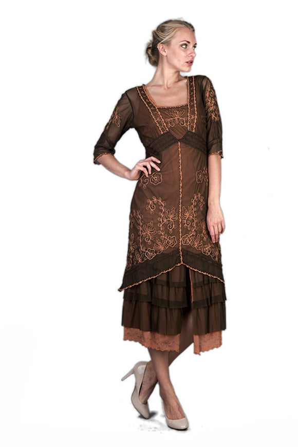 Nataya 2101 Women's Titanic Vintage Style Tea Party Dress in Terracotta - Elegant Bridal Designs