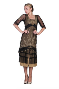 Nataya 2101 Women's Titanic Vintage Style Tea Party Dress in Black/Gold - Elegant Bridal Designs