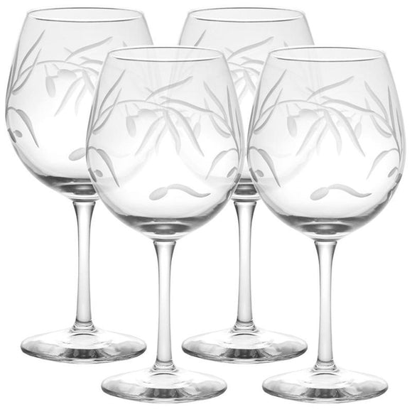 Rolf Glass Olive Branch Balloon 18 oz. Red Wine Glasses (set of 4) - Elegant Bridal Designs