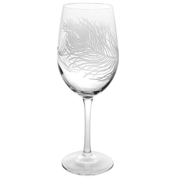 Rolf Glass Peacock Feather White Wine 12 oz. Glasses (set of 4) - Elegant Bridal Designs