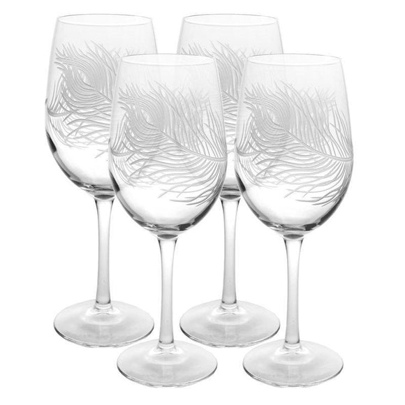 Rolf Glass Peacock Feather All Purpose 18 oz. Wine Glasses (Set of 4) - Elegant Bridal Designs