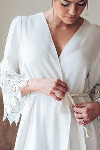 Mae's Sunday Luxurious Silk Robe No. 1 with Lace Sleeves - Elegant Bridal Designs