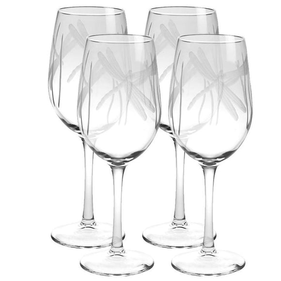 Rolf Glass Dragonfly White Wine 12 oz. Glasses (set of 4) - Elegant Bridal Designs