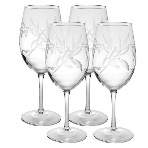 Rolf Glass Olive Branch All Purpose 18 oz. Wine Glasses (Set of 4) - Elegant Bridal Designs