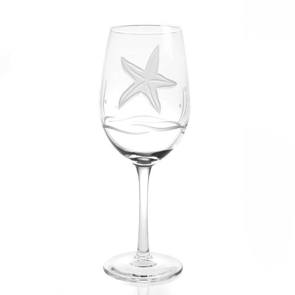Rolf Glass Starfish White Wine 12 oz. Glasses (set of 4) - Elegant Bridal Designs