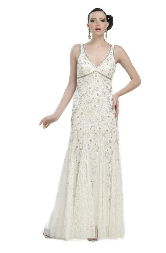 Sue Wong N1118 Gorgeous Antique Embroidered Ivory Wedding Gown - Elegant Bridal Designs